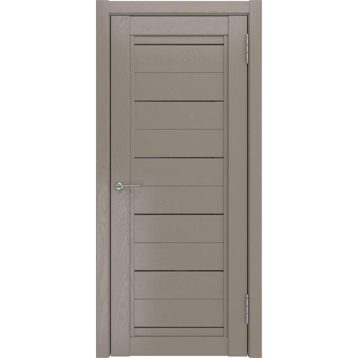Дверь LH-6 Грей софт тач  остеклённая.Триплекс чёрный глянец.