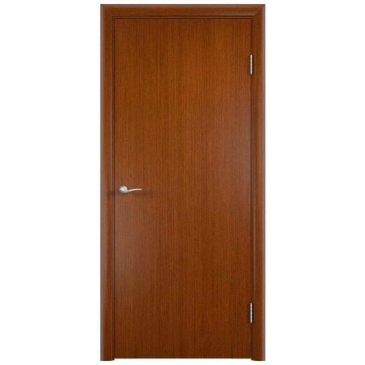 Гладкая усиленная дверь шпон файн-лайн (fine-line)  цвет Вишня