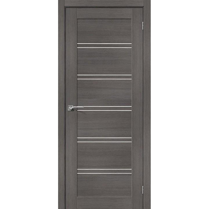 """Дверь Браво Порта-28 экошпон грей вералинга, сатинато белое """"Magic Fog"""""""