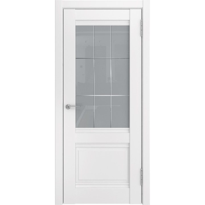 Ульяновская межкомнатная дверь U-51 белый винил стекло
