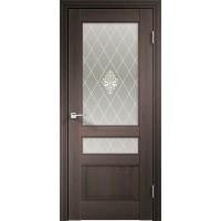 Дверь VellDoris экошпон Laura 3V венге браш, стекло