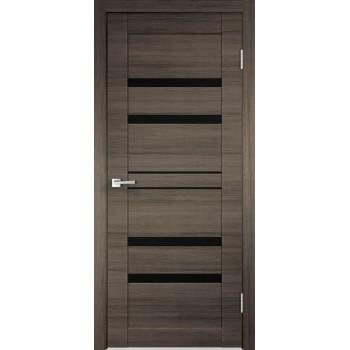 Дверь VellDoris экошпон Linea 6 дуб серый поперечный, стекло лакобель черное