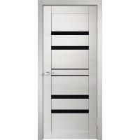 Дверь VellDoris экошпон Linea 6 дуб белый поперечный, стекло лакобель черное