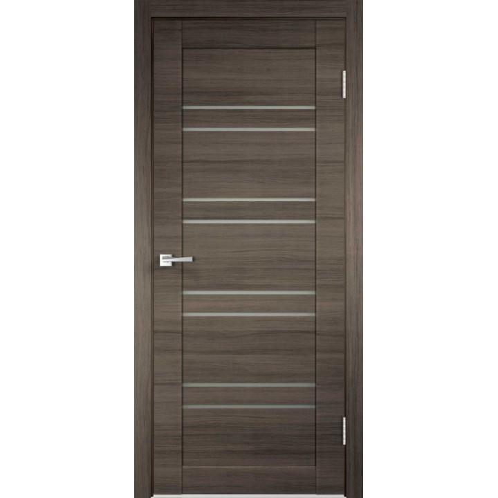 Дверь VellDoris экошпон Linea 8 дуб серый поперечный, стекло мателюкс