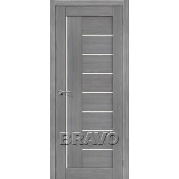 """Дверь Браво Порта-29 3D грей, сатинато белое """"Magic Fog"""""""