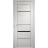 Дверь VellDoris экошпон Linea 1 дуб белый, стекло лакобель черное