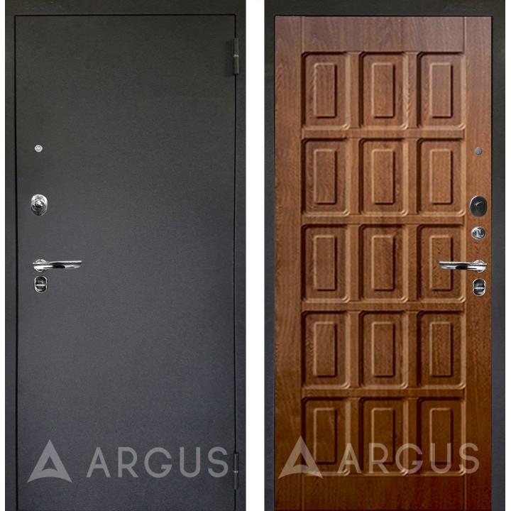 Сейф-дверь Аргус Люкс ПРО Черный шелк Шоколад Дуб золотой