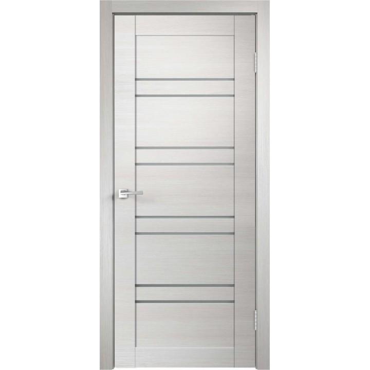 Дверь VellDoris экошпон Linea 8 дуб белый поперечный, стекло мателюкс